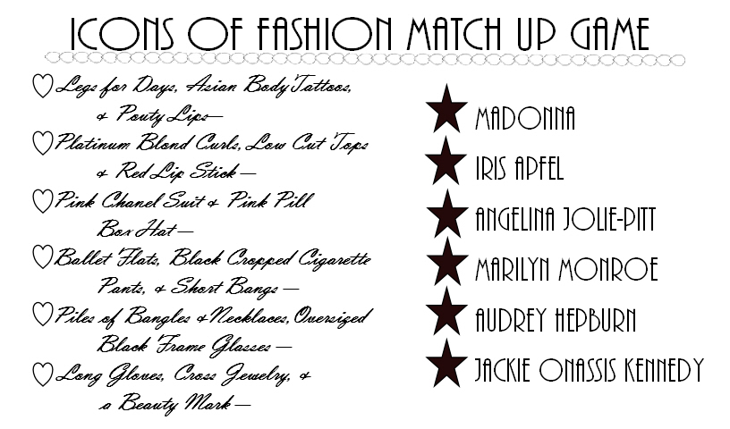 Icons of Fashion Match Game